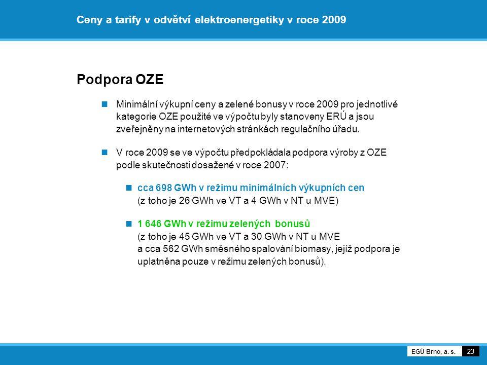 Ceny a tarify v odvětví elektroenergetiky v roce 2009 Podpora OZE Minimální výkupní ceny a zelené bonusy v roce 2009 pro jednotlivé kategorie OZE použ