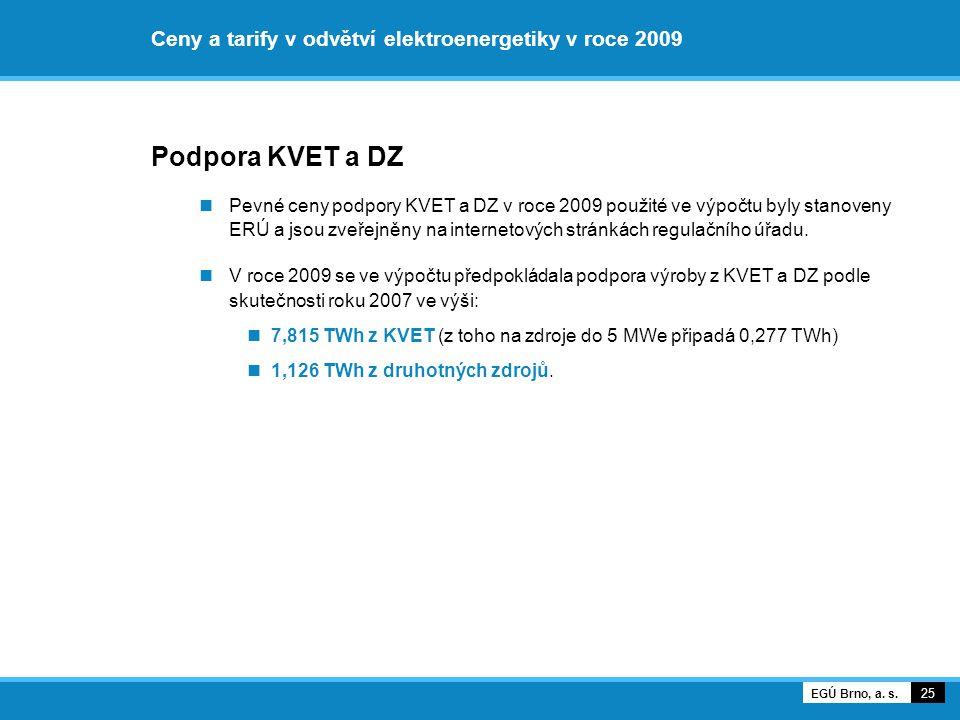 Ceny a tarify v odvětví elektroenergetiky v roce 2009 Podpora KVET a DZ Pevné ceny podpory KVET a DZ v roce 2009 použité ve výpočtu byly stanoveny ERÚ