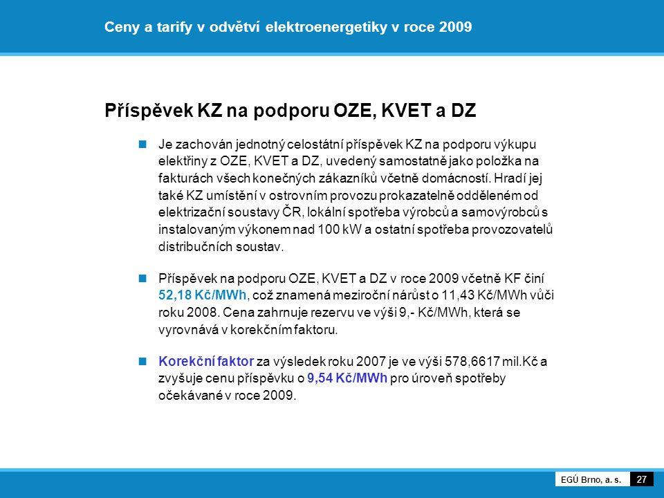 Ceny a tarify v odvětví elektroenergetiky v roce 2009 Příspěvek KZ na podporu OZE, KVET a DZ Je zachován jednotný celostátní příspěvek KZ na podporu v