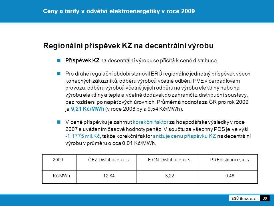 Ceny a tarify v odvětví elektroenergetiky v roce 2009 Regionální příspěvek KZ na decentrální výrobu Příspěvek KZ na decentrální výrobu se přičítá k ce