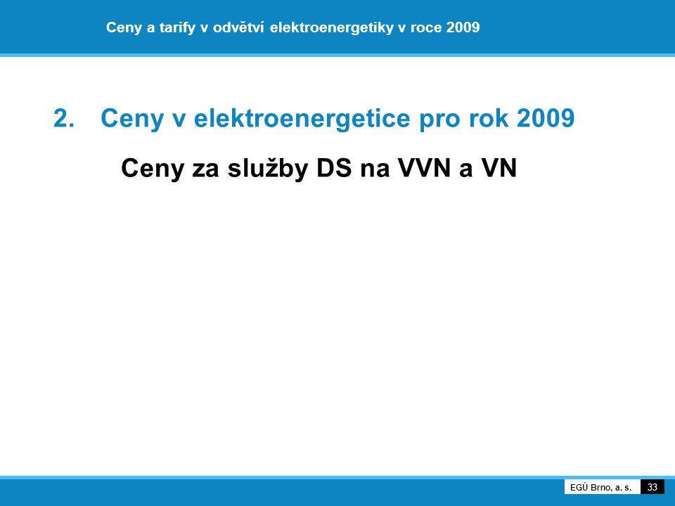 Ceny a tarify v odvětví elektroenergetiky v roce 2009 2. Ceny v elektroenergetice pro rok 2009 Ceny za služby DS na VVN a VN 33 EGÚ Brno, a. s.