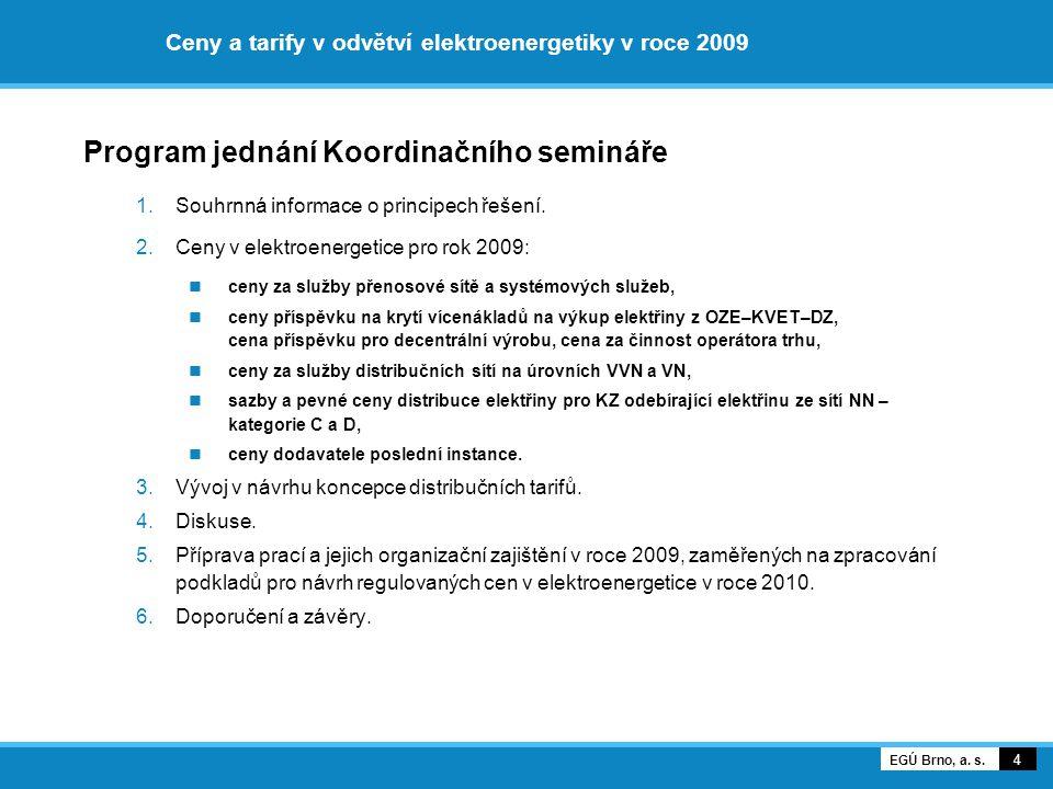 Ceny a tarify v odvětví elektroenergetiky v roce 2009 Program jednání Koordinačního semináře 1.Souhrnná informace o principech řešení. 2.Ceny v elektr
