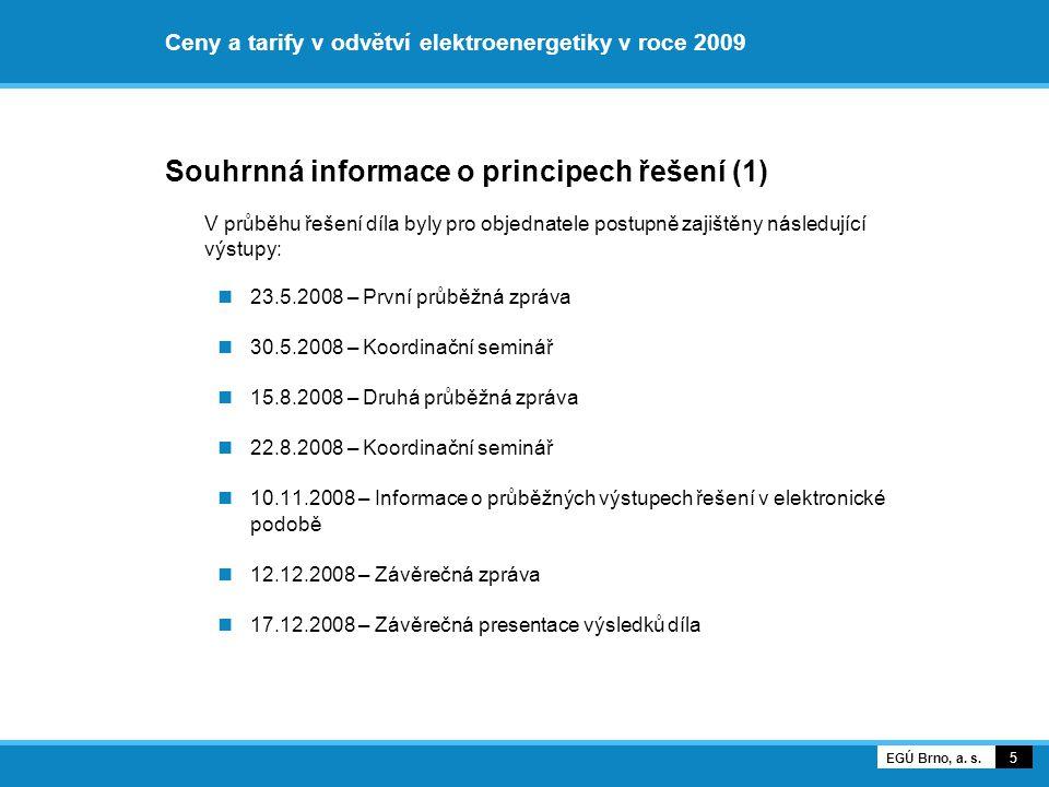 Ceny za služby distribučních sítí Informativní jednosložková cena elektřiny pro KZ v ES ČR 56 EGÚ Brno, a.
