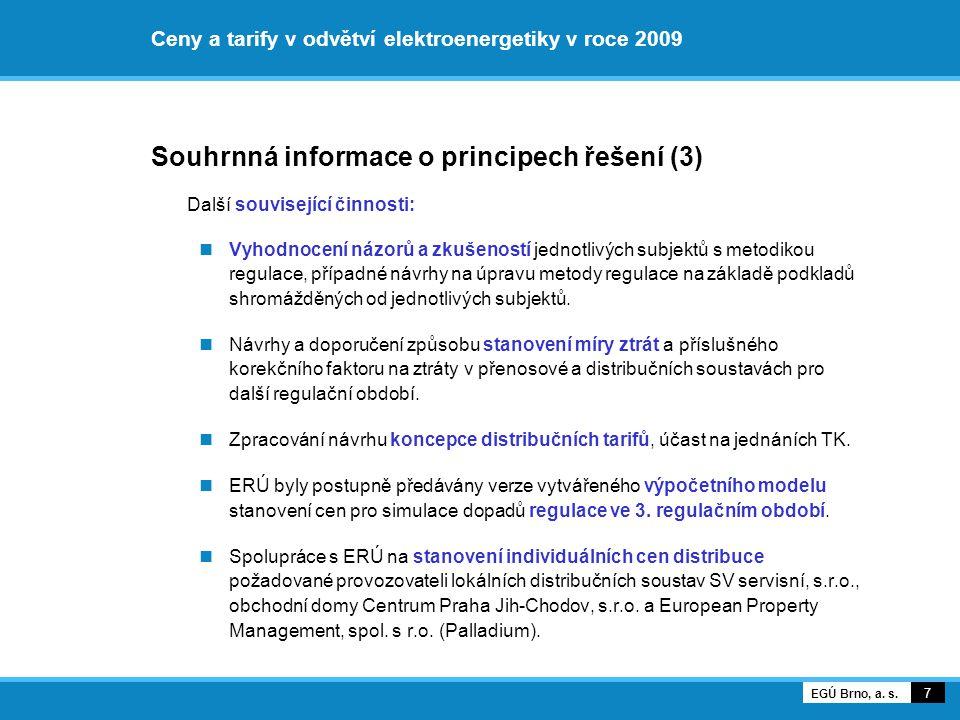 Ceny a tarify v odvětví elektroenergetiky v roce 2009 Cena za službu PS Vývoj informativní jednosložkové průměrné ceny za službu PS 18 EGÚ Brno, a.