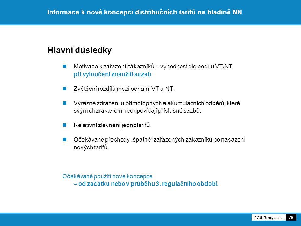 Informace k nové koncepci distribučních tarifů na hladině NN Hlavní důsledky Motivace k zařazení zákazníků – výhodnost dle podílu VT/NT při vyloučení