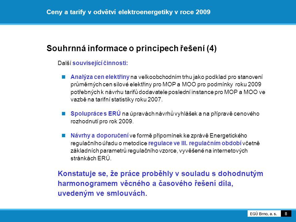 Ceny a tarify v odvětví elektroenergetiky v roce 2009 Souhrnná informace o principech řešení (4) Další související činnosti: Analýza cen elektřiny na