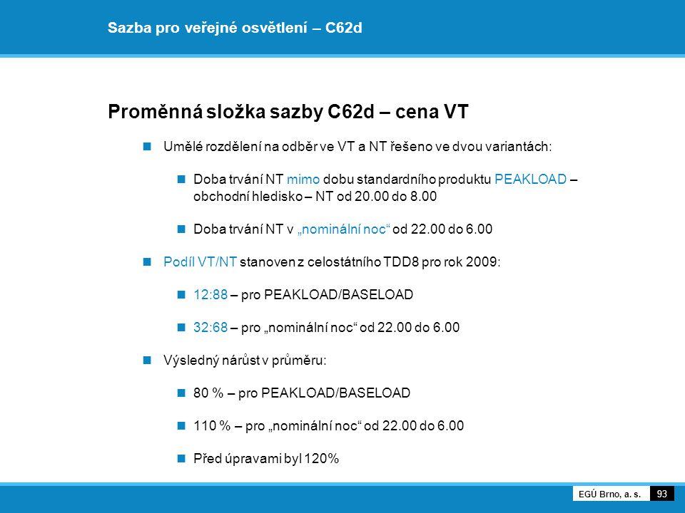 Sazba pro veřejné osvětlení – C62d Proměnná složka sazby C62d – cena VT Umělé rozdělení na odběr ve VT a NT řešeno ve dvou variantách: Doba trvání NT