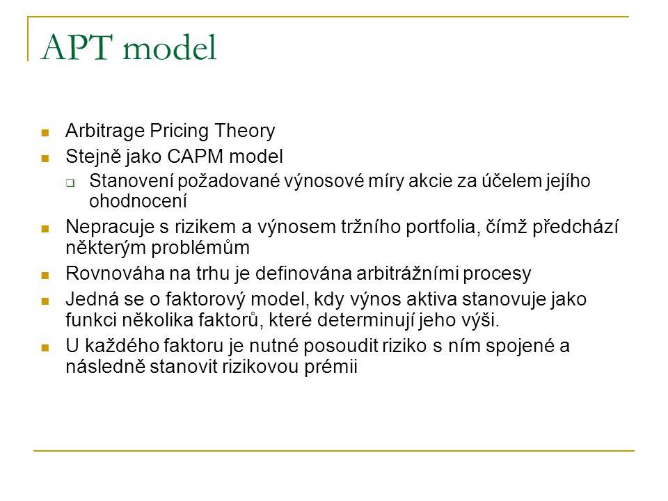 APT model Arbitrage Pricing Theory Stejně jako CAPM model  Stanovení požadované výnosové míry akcie za účelem jejího ohodnocení Nepracuje s rizikem a