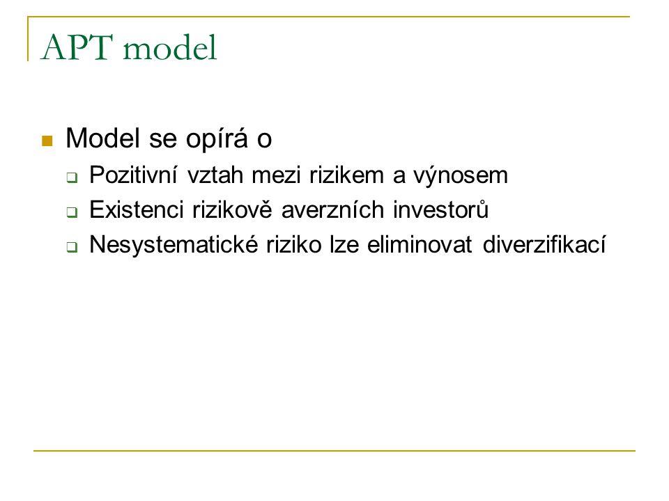 APT model Model se opírá o  Pozitivní vztah mezi rizikem a výnosem  Existenci rizikově averzních investorů  Nesystematické riziko lze eliminovat di
