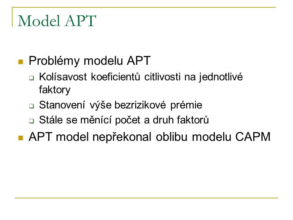 Model APT Problémy modelu APT  Kolísavost koeficientů citlivosti na jednotlivé faktory  Stanovení výše bezrizikové prémie  Stále se měnící počet a