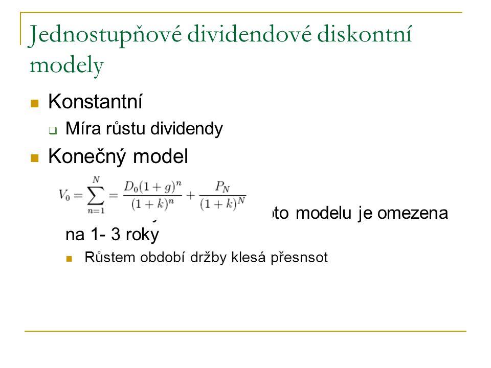 Jednostupňové dividendové diskontní modely Konstantní  Míra růstu dividendy Konečný model  Praktická využitelnost tohoto modelu je omezena na 1- 3 r