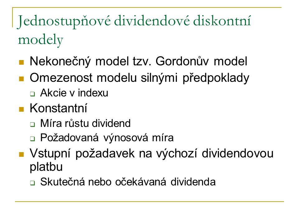 Nekonečný model tzv. Gordonův model Omezenost modelu silnými předpoklady  Akcie v indexu Konstantní  Míra růstu dividend  Požadovaná výnosová míra