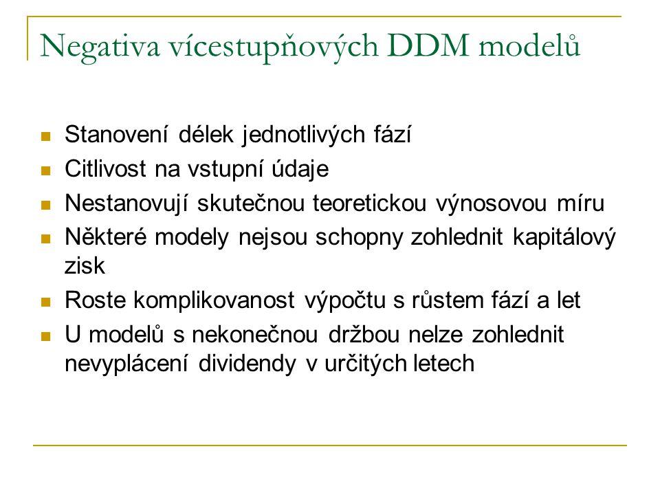 Negativa vícestupňových DDM modelů Stanovení délek jednotlivých fází Citlivost na vstupní údaje Nestanovují skutečnou teoretickou výnosovou míru Někte