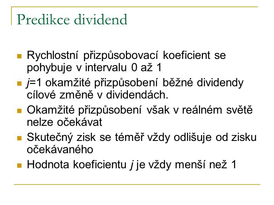 Predikce dividend Rychlostní přizpůsobovací koeficient se pohybuje v intervalu 0 až 1 j=1 okamžité přizpůsobení běžné dividendy cílové změně v dividen