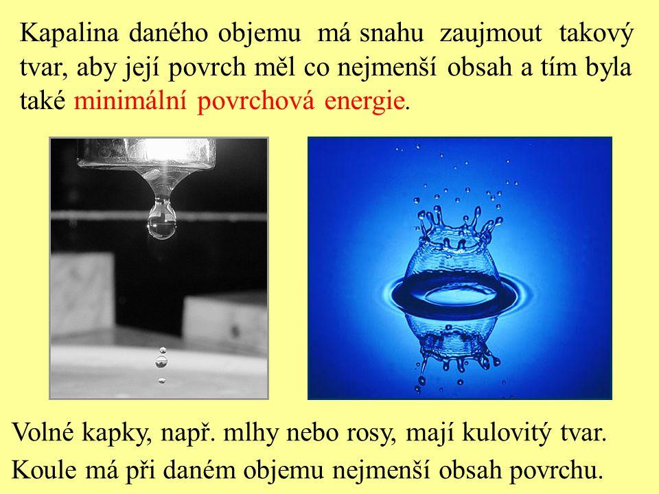Kapalina daného objemu má snahu zaujmout takový tvar, aby její povrch měl co nejmenší obsah a tím byla také minimální povrchová energie.