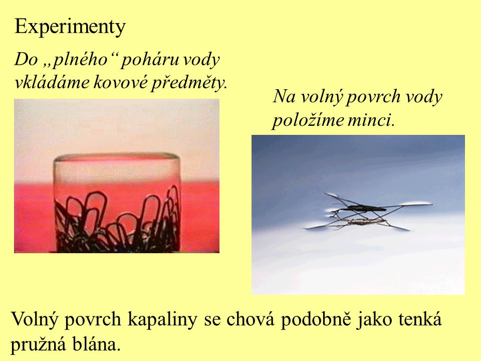 Na molekuly, jejichž vzdálenost od volného povrchu kapaliny je menší než poloměr sféry molekulového působení: a) působí výsledná síla kolmá k volnému povrchu kapaliny a směřuje ven z kapaliny, b) působí výsledná síla vodorovná s volným povrchem kapaliny a směřuje dovnitř kapaliny, c) působí výsledná síla kolmá k volnému povrchu kapaliny a směřuje dovnitř kapaliny, d) působí výsledná síla vodorovná s volným povrchem kapaliny a směřuje ven z kapaliny.