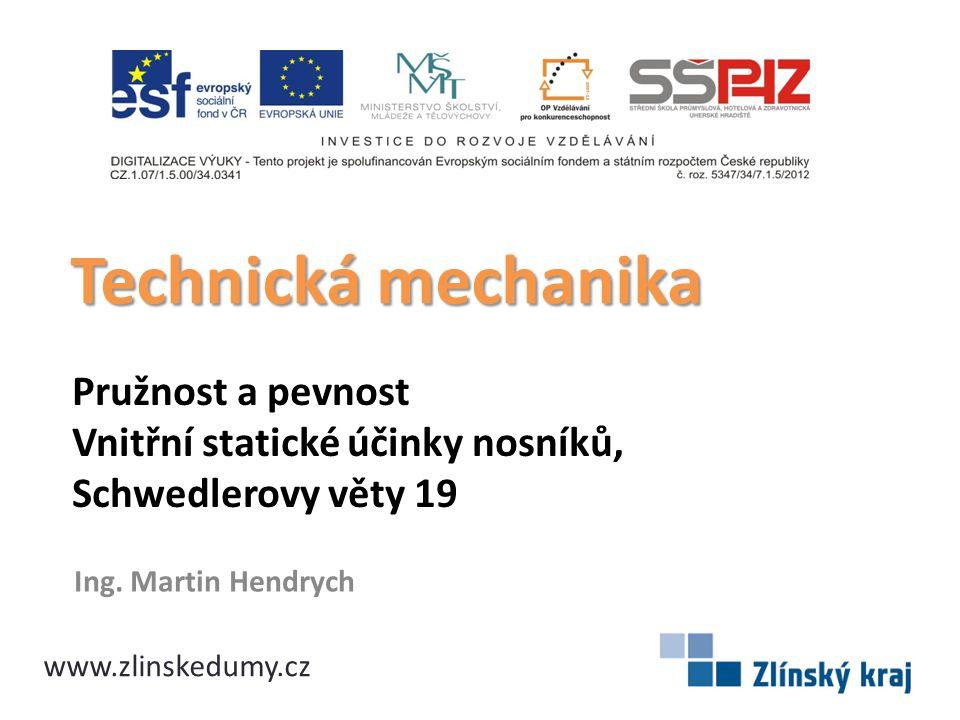 Pružnost a pevnost Vnitřní statické účinky nosníků, Schwedlerovy věty 19 Ing. Martin Hendrych Technická mechanika www.zlinskedumy.cz