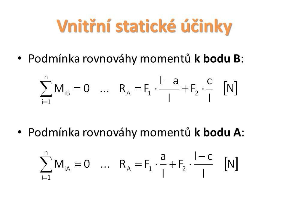 Vnitřní statické účinky Účinek F t : Příčná síla F t namáhá průřez na smyk, snaží se posunout část nosníku I proti části II a proto ji nazýváme síla posouvající.