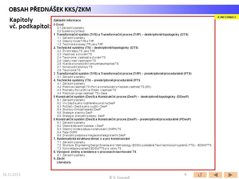 18.11.2013 © S. Hosnedl OBSAH PŘEDNÁŠEK KKS/ZKM Kapitoly vč. podkapitol: Základní informace 0 Úvod 0.1 Základní poznatky 0.2 Systémový přístup 1 Trans