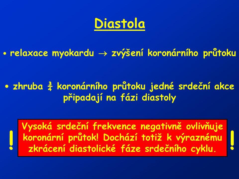 Diastola relaxace myokardu  zvýšení koronárního průtoku zhruba ¾ koronárního průtoku jedné srdeční akce připadají na fázi diastoly Vysoká srdeční fre