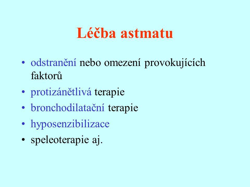 Léčba astmatu odstranění nebo omezení provokujících faktorů protizánětlivá terapie bronchodilatační terapie hyposenzibilizace speleoterapie aj.