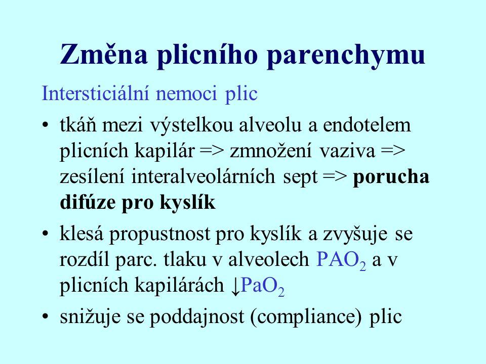 Změna plicního parenchymu Intersticiální nemoci plic tkáň mezi výstelkou alveolu a endotelem plicních kapilár => zmnožení vaziva => zesílení interalveolárních sept => porucha difúze pro kyslík klesá propustnost pro kyslík a zvyšuje se rozdíl parc.