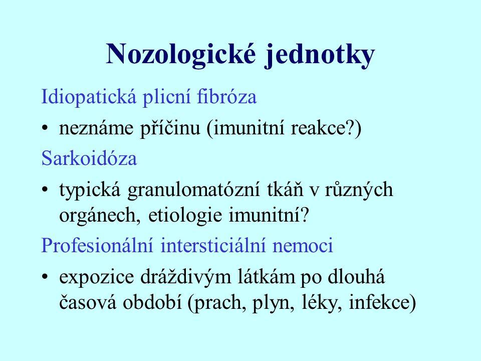 Nozologické jednotky Idiopatická plicní fibróza neznáme příčinu (imunitní reakce?) Sarkoidóza typická granulomatózní tkáň v různých orgánech, etiologie imunitní.