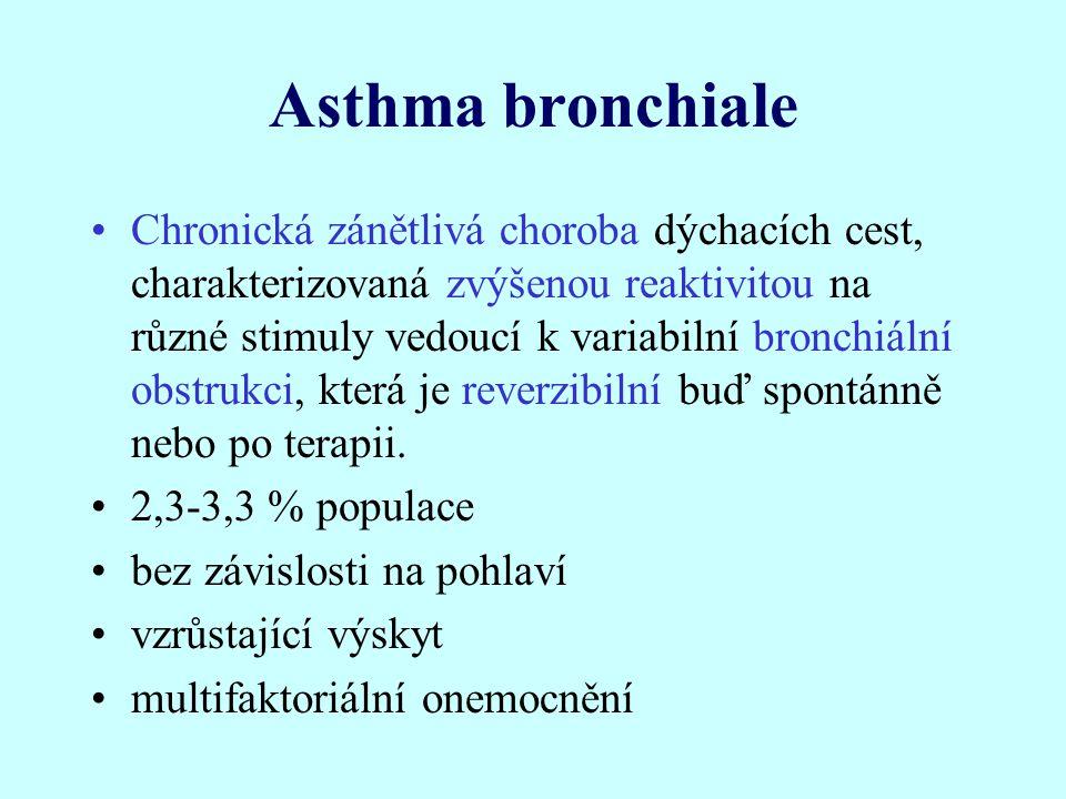 Asthma bronchiale Chronická zánětlivá choroba dýchacích cest, charakterizovaná zvýšenou reaktivitou na různé stimuly vedoucí k variabilní bronchiální obstrukci, která je reverzibilní buď spontánně nebo po terapii.