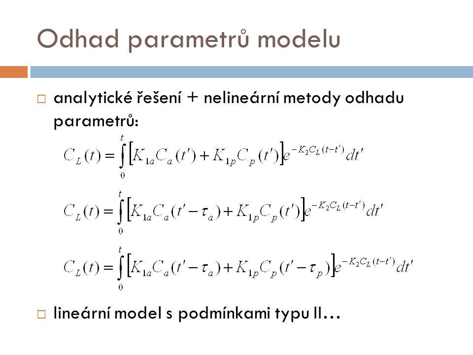Odhad parametrů modelu  analytické řešení + nelineární metody odhadu parametrů:  lineární model s podmínkami typu II…
