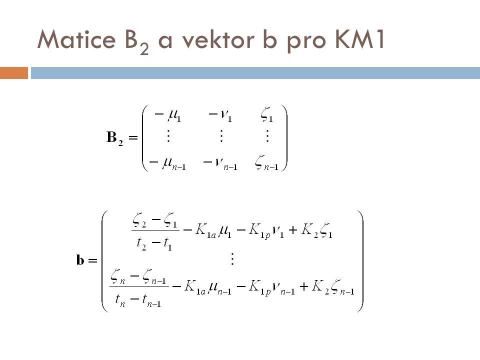 Matice B 2 a vektor b pro KM1