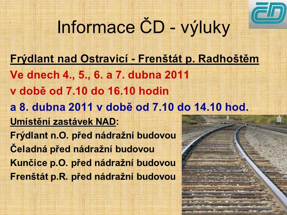 Informace ČD - výluky Frýdlant nad Ostravicí - Frenštát p.