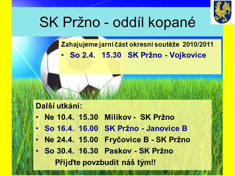 SK Pržno - oddíl kopané Další utkání: Ne 10.4. 15.30 Milíkov - SK Pržno So 16.4.