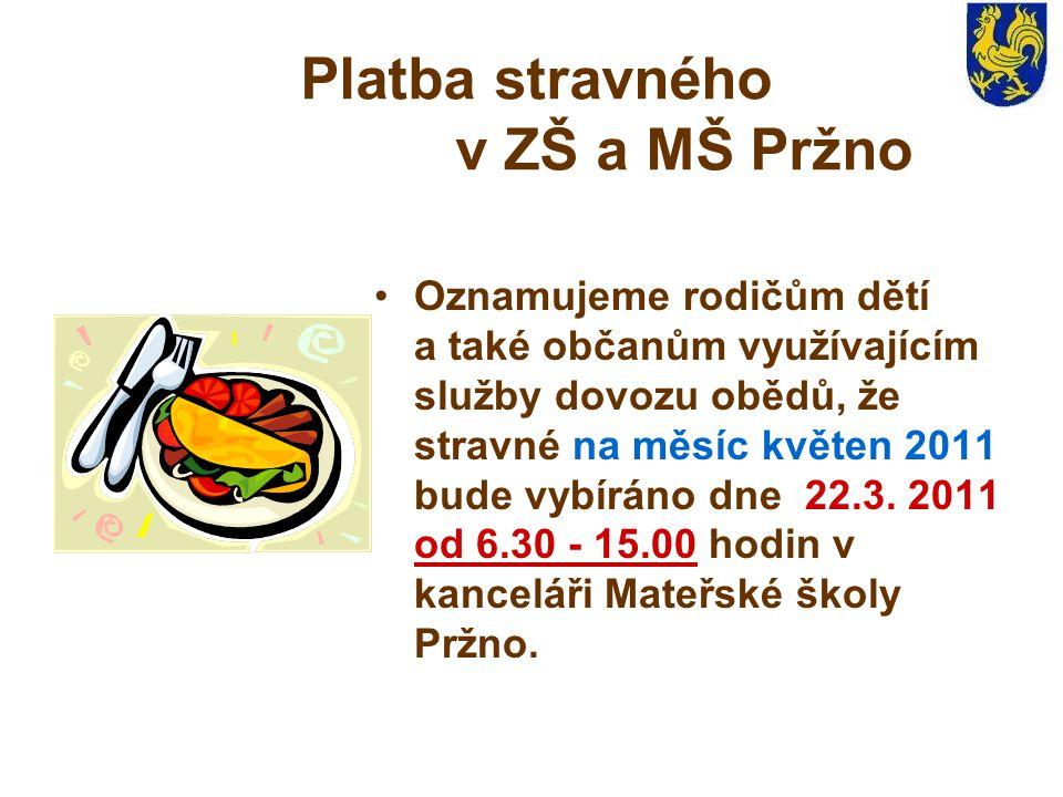 Platba stravného v ZŠ a MŠ Pržno Oznamujeme rodičům dětí a také občanům využívajícím služby dovozu obědů, že stravné na měsíc květen 2011 bude vybíráno dne 22.3.
