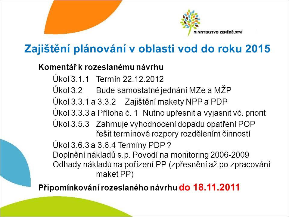 Zajištění plánování v oblasti vod do roku 2015 Komentář k rozeslanému návrhu Úkol 3.1.1Termín 22.12.2012 Úkol 3.2Bude samostatné jednání MZe a MŽP Úkol 3.3.1 a 3.3.2Zajištění makety NPP a PDP Úkol 3.3.3 a Příloha č.