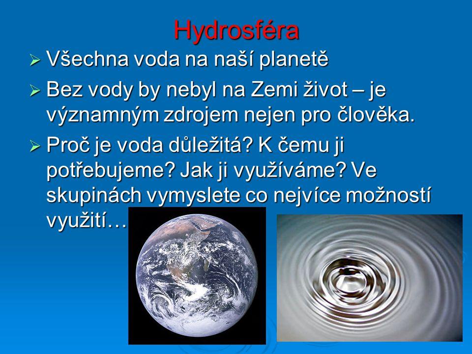 Hydrosféra  Všechna voda na naší planetě  Bez vody by nebyl na Zemi život – je významným zdrojem nejen pro člověka.