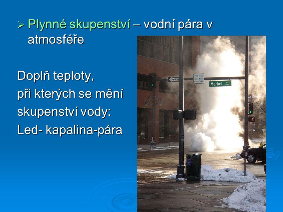  Plynné skupenství – vodní pára v atmosféře Doplň teploty, při kterých se mění skupenství vody: Led- kapalina-pára