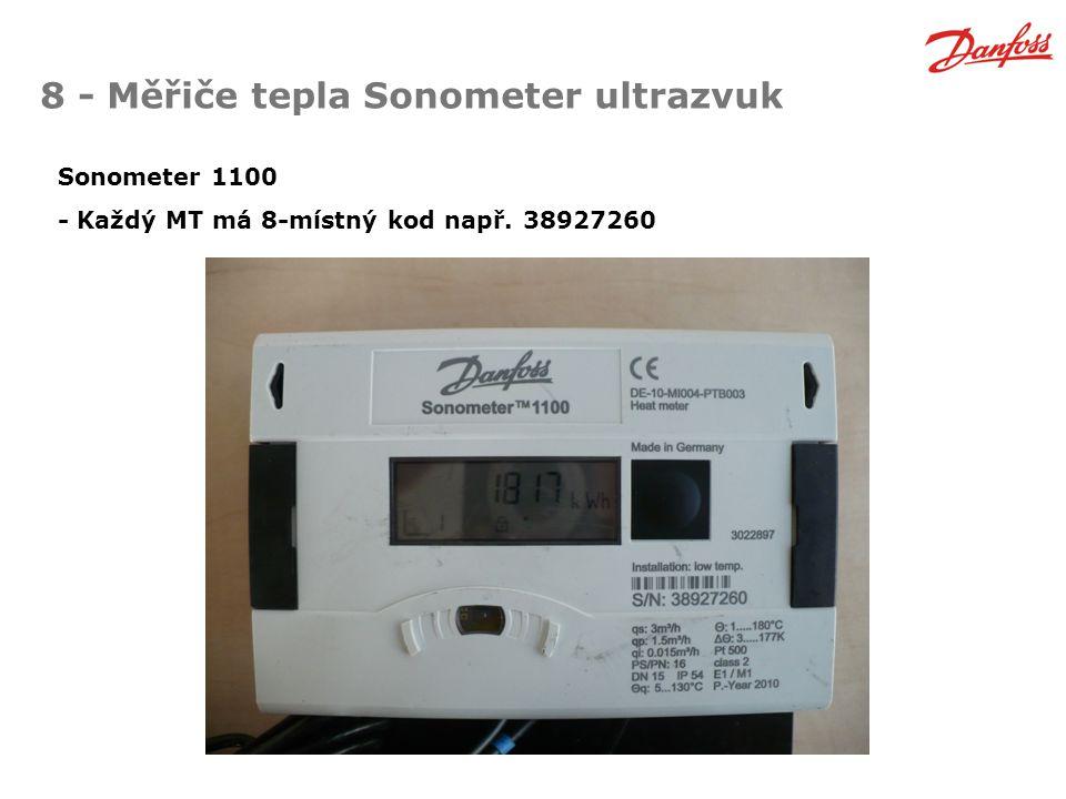 8 - Měřiče tepla Sonometer ultrazvuk Sonometer 1100 - Každý MT má 8-místný kod např. 38927260