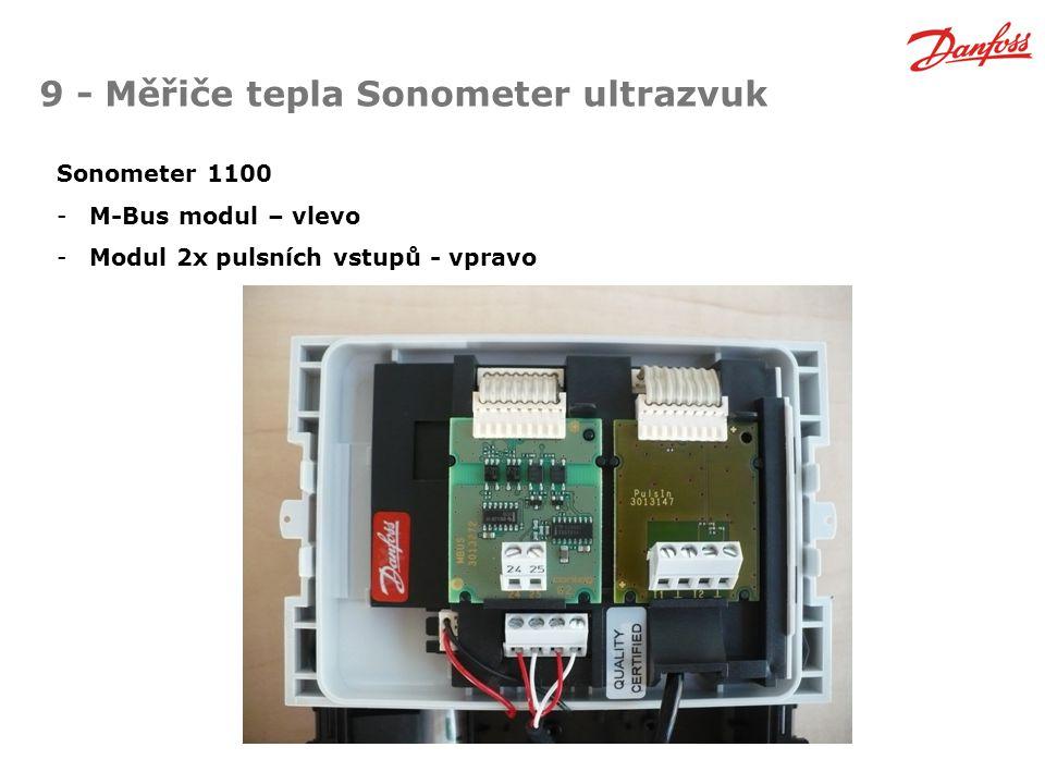 9 - Měřiče tepla Sonometer ultrazvuk Sonometer 1100 -M-Bus modul – vlevo -Modul 2x pulsních vstupů - vpravo