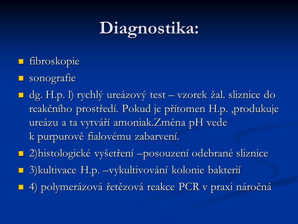 Diagnostika: fibroskopie fibroskopie sonografie sonografie dg.