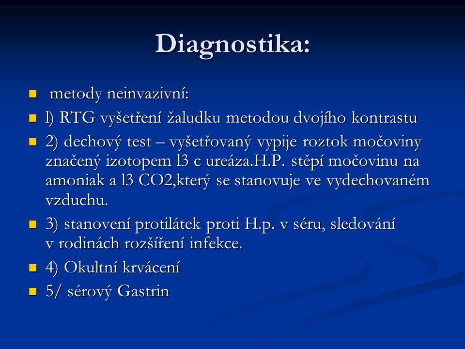Diagnostika: metody neinvazivní: metody neinvazivní: l) RTG vyšetření žaludku metodou dvojího kontrastu l) RTG vyšetření žaludku metodou dvojího kontrastu 2) dechový test – vyšetřovaný vypije roztok močoviny značený izotopem l3 c ureáza.H.P.