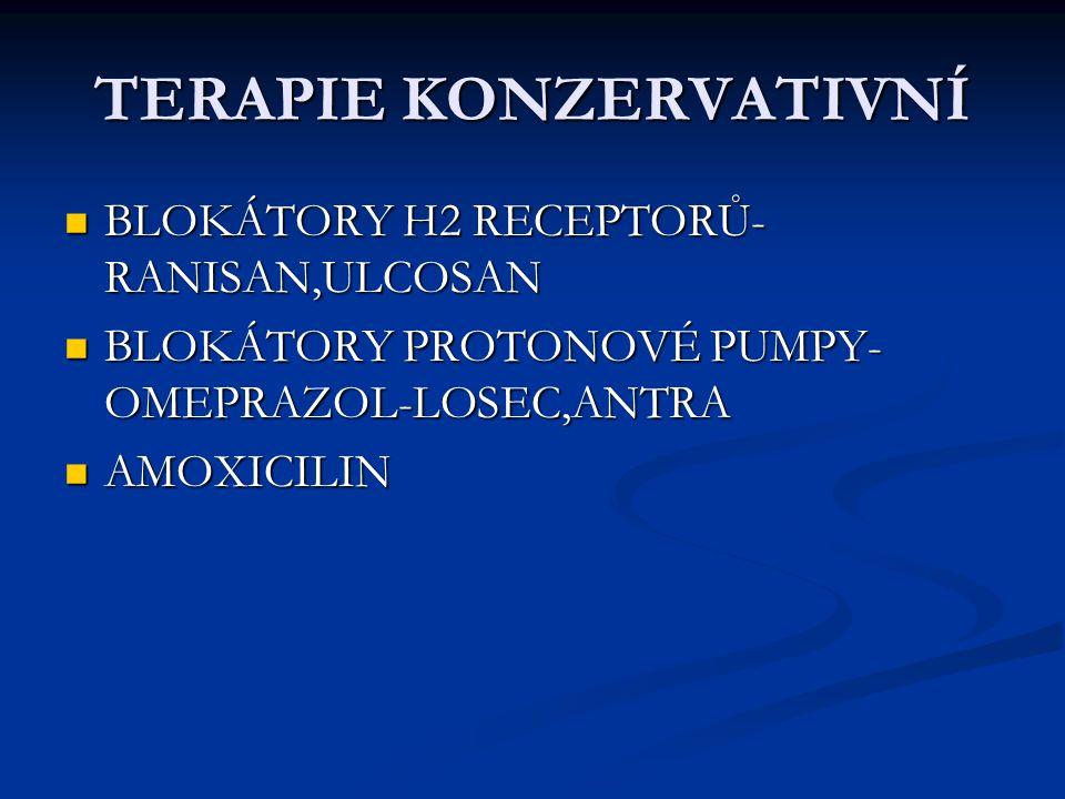 TERAPIE KONZERVATIVNÍ BLOKÁTORY H2 RECEPTORŮ- RANISAN,ULCOSAN BLOKÁTORY H2 RECEPTORŮ- RANISAN,ULCOSAN BLOKÁTORY PROTONOVÉ PUMPY- OMEPRAZOL-LOSEC,ANTRA BLOKÁTORY PROTONOVÉ PUMPY- OMEPRAZOL-LOSEC,ANTRA AMOXICILIN AMOXICILIN
