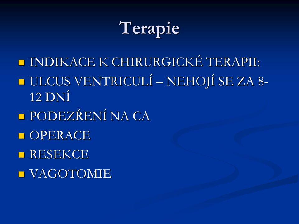 Terapie INDIKACE K CHIRURGICKÉ TERAPII: INDIKACE K CHIRURGICKÉ TERAPII: ULCUS VENTRICULÍ – NEHOJÍ SE ZA 8- 12 DNÍ ULCUS VENTRICULÍ – NEHOJÍ SE ZA 8- 12 DNÍ PODEZŘENÍ NA CA PODEZŘENÍ NA CA OPERACE OPERACE RESEKCE RESEKCE VAGOTOMIE VAGOTOMIE