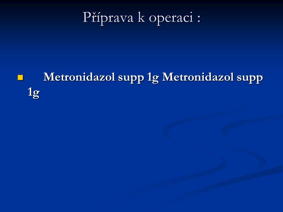 Příprava k operaci : Metronidazol supp 1g Metronidazol supp 1g Metronidazol supp 1g Metronidazol supp 1g