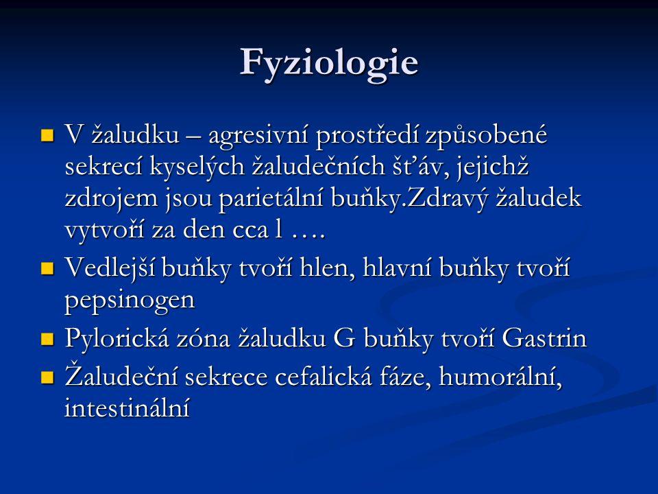 Fyziologie V žaludku – agresivní prostředí způsobené sekrecí kyselých žaludečních šťáv, jejichž zdrojem jsou parietální buňky.Zdravý žaludek vytvoří za den cca l ….