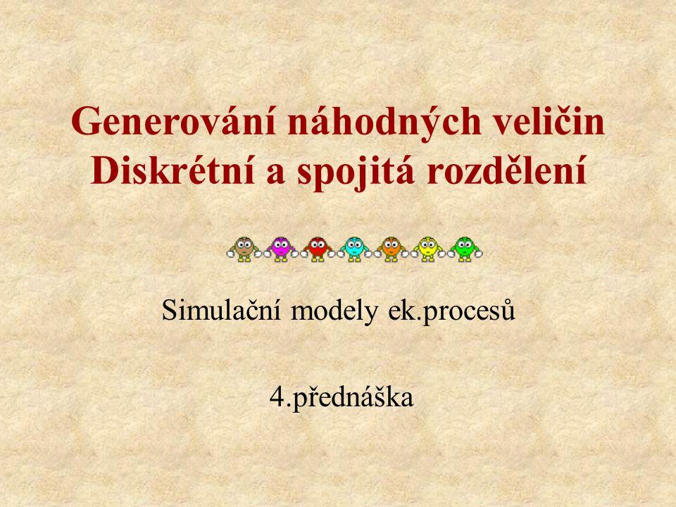 Generování náhodných veličin Diskrétní a spojitá rozdělení Simulační modely ek.procesů 4.přednáška