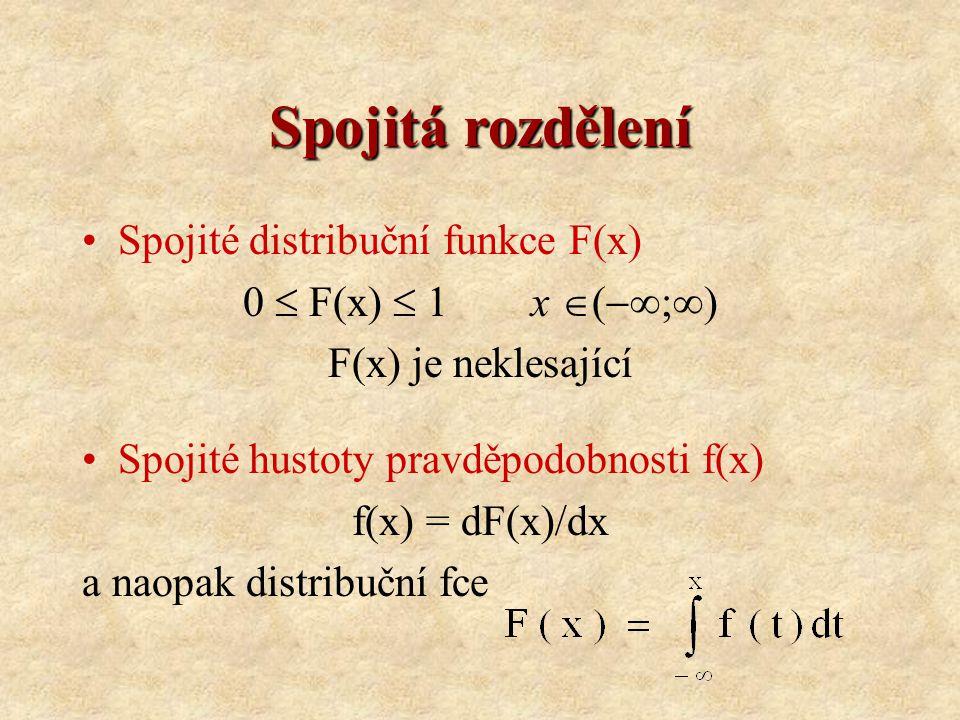 Spojitá rozdělení Spojité distribuční funkce F(x) 0  F(x)  1x  (  ;  ) F(x) je neklesající Spojité hustoty pravděpodobnosti f(x) f(x) = dF(x)/dx a naopak distribuční fce