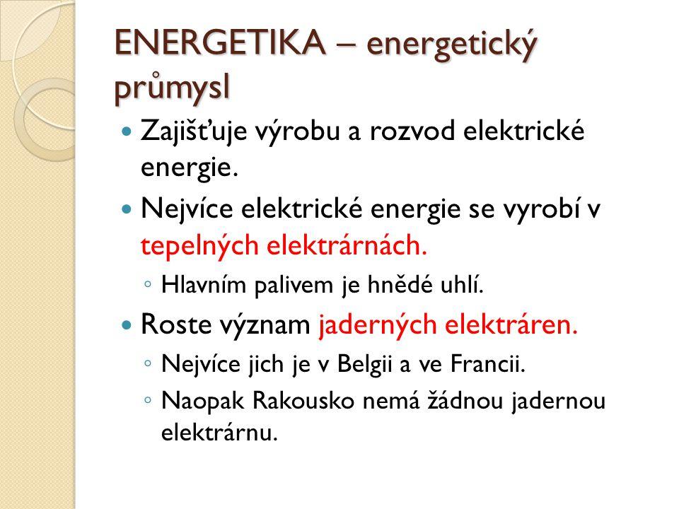ENERGETIKA – energetický průmysl Zajišťuje výrobu a rozvod elektrické energie.