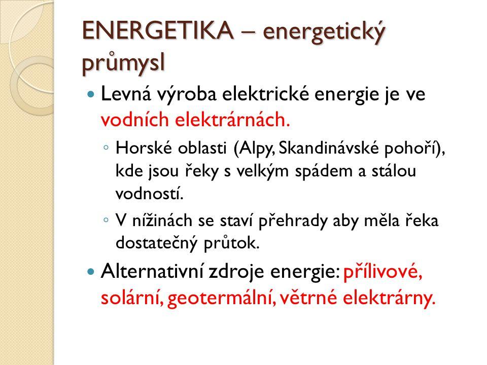 ENERGETIKA – energetický průmysl Levná výroba elektrické energie je ve vodních elektrárnách.