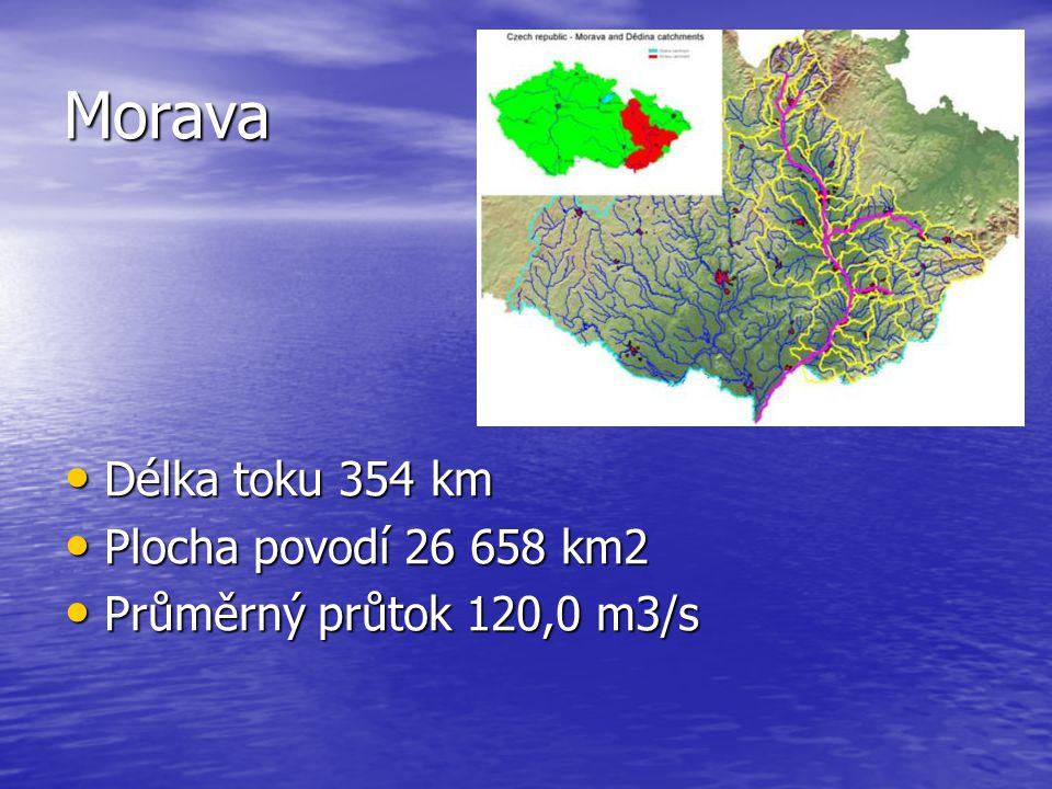 Morava Délka toku 354 km Délka toku 354 km Plocha povodí 26 658 km2 Plocha povodí 26 658 km2 Průměrný průtok 120,0 m3/s Průměrný průtok 120,0 m3/s
