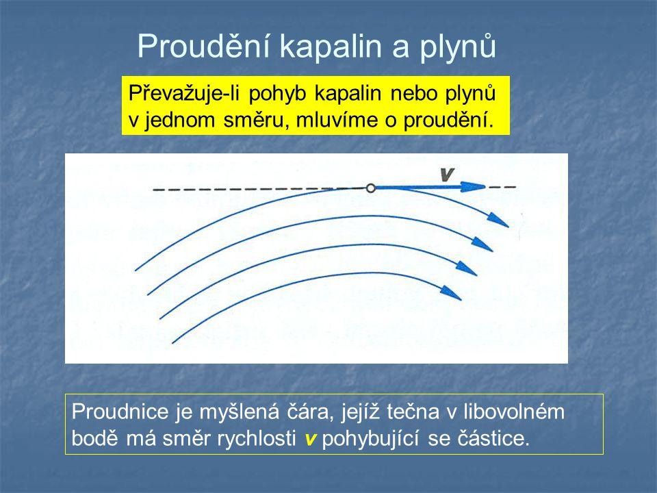 Proudění kapalin a plynů Převažuje-li pohyb kapalin nebo plynů v jednom směru, mluvíme o proudění. Proudnice je myšlená čára, jejíž tečna v libovolném